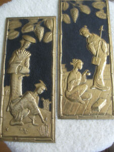 VINTAGE PAIR BRASS ORIENTAL SLIM-LINE ACTIVITY SCENES