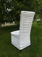 $1.75 Ruched stretch white chair cover rentals