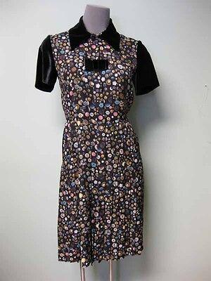 Chanel CC Logo Camellia Jewel Buttons Print Silk Shirt Dress 36 + Bow Pin 13B