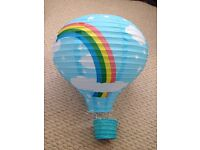 Nursery light shade, rainbow, blue sky, stars print, hot air balloon shape