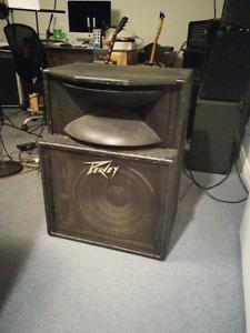 "2 Peavey SP-2A 15"" Black Widow PA speakers"