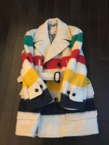 Vintage Iconic Hudson Bay Striped Wool Coat Men's Size XXL