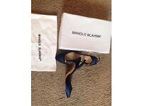 Manolo blahnik blue sling back shoes size 4