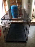 LARGE 2 DOOR FOLDING WIRE DOG CRATE WITH DIVIDER & TRAY