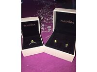 Pandora August Birthstone Ring (Size 48) And Earrings