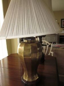 Vintage High End Brass Lamp on top Mahogany Base--w/ Shade