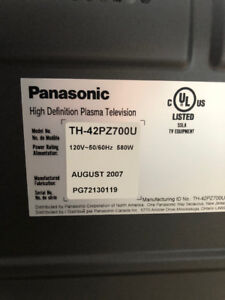 "42"" Panasonic Viera Plasma 1080p TV"