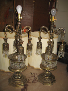 RETRO BRASS &  METAL & CRYSTAL LIKE  CHANDELIER TABLE LAMPS 1983