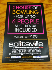 Splitsville 2 hours of bowling for up to 6 people Shoes included