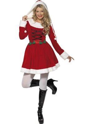 Miss Santa Nikolaus Damen Kostüm mit Kapuze, - Rote Kapuzen Kostüm