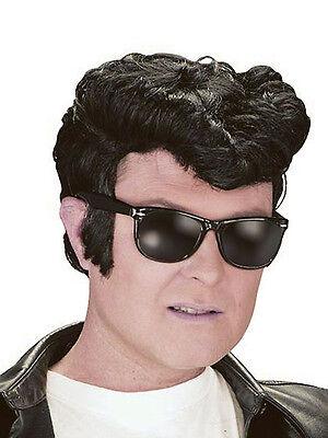 Men's 50's Kostüme (Mens Black Presley 50s Danny Wig Rockabilly Teddy Boy Fancy Dress 1950s Quiff)