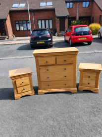 38. Solid oak chest and matching lockers