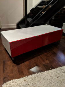 Glossy Red 2-Drawer Media Unit (2 available, $100 each)