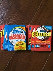 Unopened packs of Donruss and Tops 1989 baseball cards