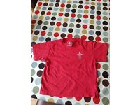 Kids red Wales rugby t shirt. Official WRU merchandise