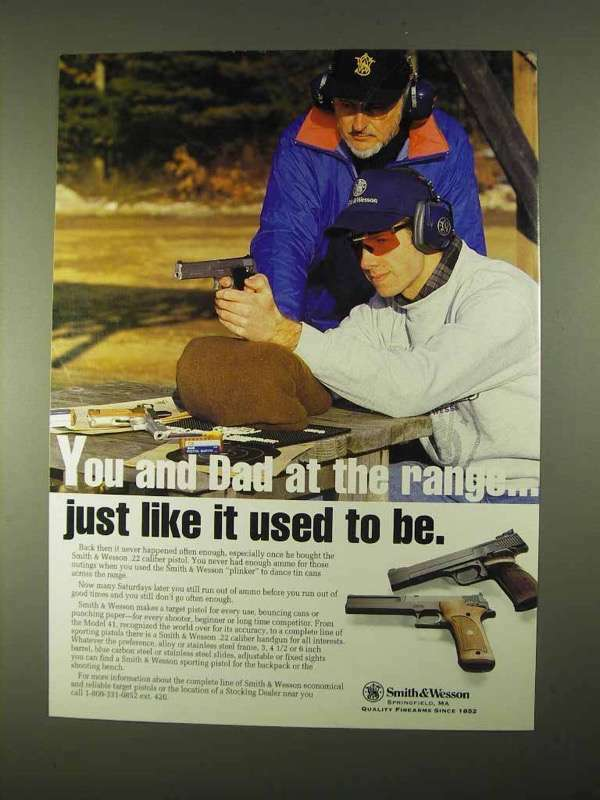 1994 Smith & Wesson Pistols Ad - You and Dad at Range