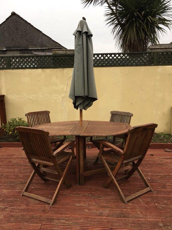 Garden Furniture Gumtree wooden garden table, chairs and parasol | in derriford, devon