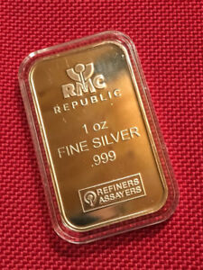 1 oz Republic Metals Corp (USA) 999 Fine Silver Bar ~ Capsule