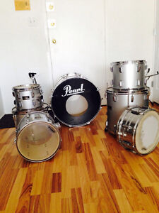 7 Piece Pearl Export Drum Kit W/ Cymbols and Gibralter Intruder