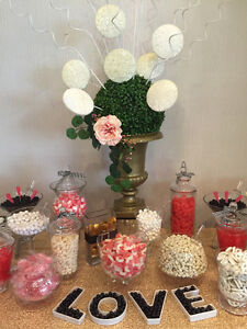 RENTAL of LOVE dishes,  Candy Jars, Cake Platters, Cake Stands