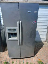 Whirlpool American fridge freezer in silver