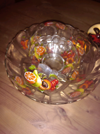 Vintage Glass Fruit Decorated Fruit Bowl & 6 Dishes