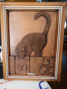 Kim Murray wood carved cat plaque