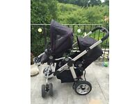 Icandy Pear double buggy with maxi cosi adaptors and rain covers