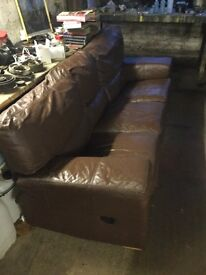 Lovely brown leather recliner sofa