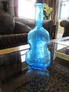 Blue Vintage Antique Violin Bottle 7 inches