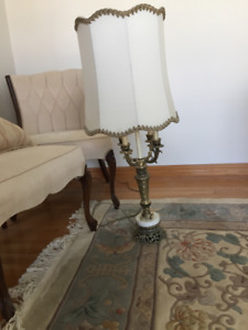 Antique lamps. Brass and marble