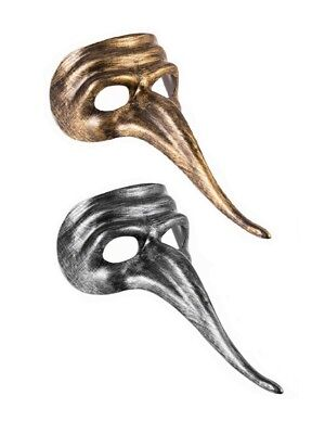 Maskerade Party silbern oder gold lange Nase Gesichtsmasken Kostüm (Lange Nase Maskerade Maske)