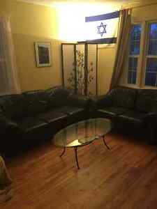 Premium leather couch and love seat with a glass table Regina Regina Area image 1