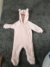 F and F pink bear fleece all-in-one 6-9 months