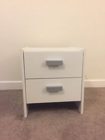 White 2 Draw Side Board / Bed side table