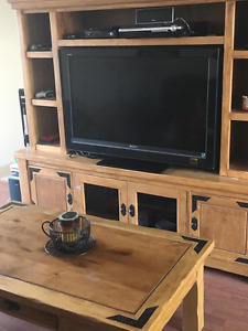 TV unit, coffee table, 1 end table (TV not included)