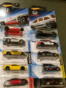 10 X assorted Honda or Acura Hotwheels for sell
