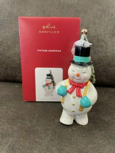 2021 Hallmark VINTAGE SNOWMAN Porcelain Keepsake Ornament *NIB* FREE SHIPPING US