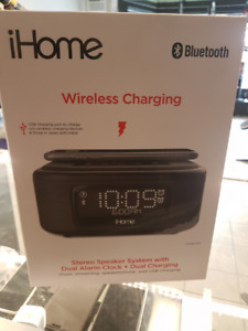 iHome Wireless Charge Stereo Speaker, Alarm Clock~Brand New