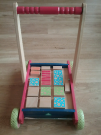 Early Learning Centre wooden baby walker with bricks