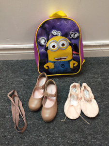 9.5M Girls size Tap and 2M Girls size Ballet Shoes