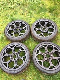 Wolf race 17inch alloy wheels 4 stud
