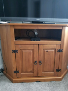Solid wood corner and flat wall tv stand