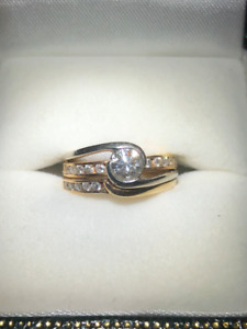 14K - VS-1 Diamond Centre Engagement Ring and Wedding Band