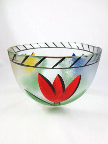 "Kosta Boda 8 5/8"" Serving Bowl Ulrica Hydman Vallien Tulip Painted Art Glass"
