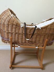 """MOTHERCARE """"THE SNUG"""" MOSES BASKET, ROCKING STAND & MATTRESS"""