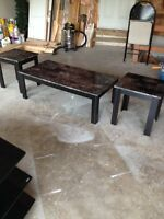 Faux marble coffee table and 2 end tables