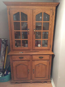 Golden oak buffet and hutch