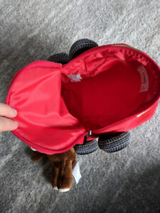 Toddler monkey racecar backpack bag red