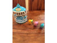 3 little live pet birds and cage